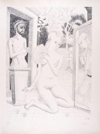Litografía Delvaux - L'Eventail