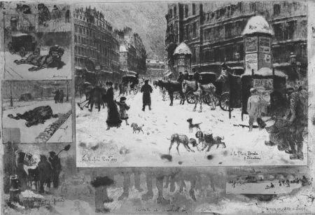 Aguafuerte Buhot - L'hiver e 1879 à Paris