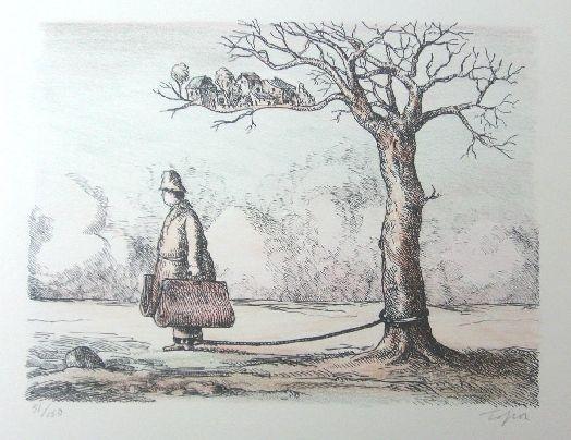 Litografía Topor - L'homme aux valises