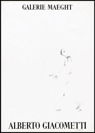 Litografía Giacometti - L'HOMME QUI MARCHE (1957). Affiche lithographique pour une exposirion à la Galerie Maeght.
