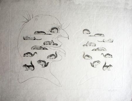 Aguafuerte Dali - L'Homme ressuscité par l'holographie de l'écureuil