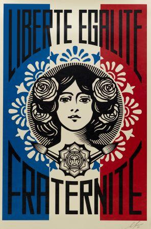 Litografía Fairey - Liberté, Egalité, Fraternité