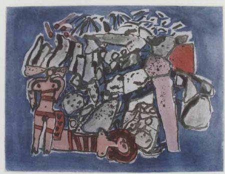 Aguatinta Corneille - Lieu rupestre