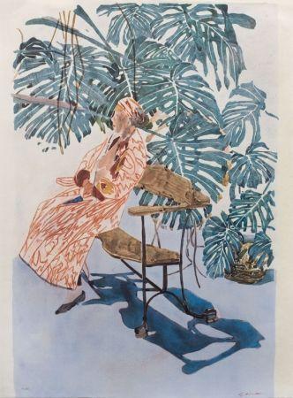 Litografía Szafran - Lilette à la chaise de Gaudi,