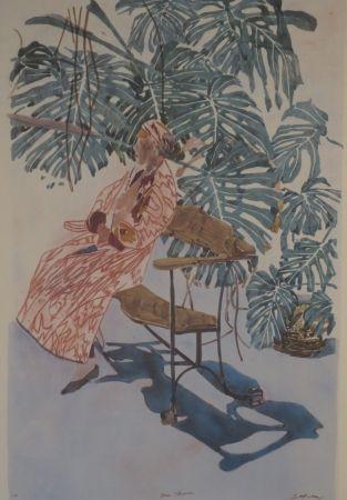 Litografía Szafran - Lilette à la chaise de Gaudi.