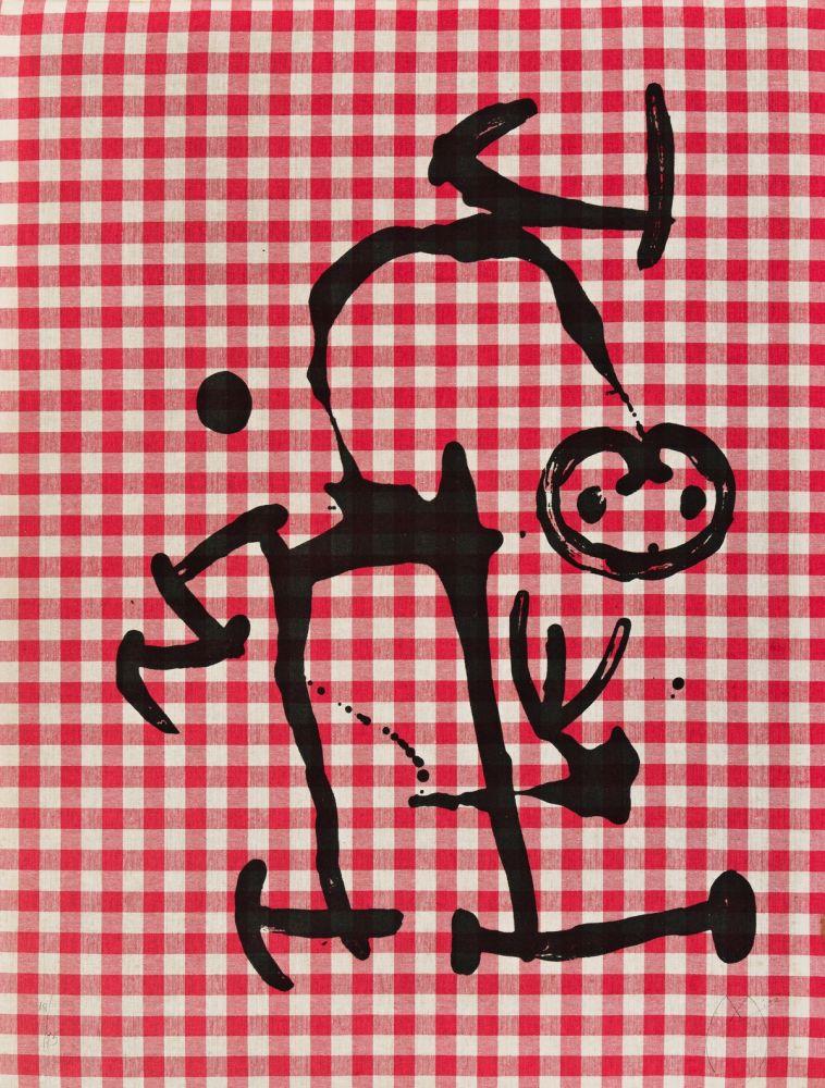 Litografía Miró - L'Illetre aux Carreaux Rouges