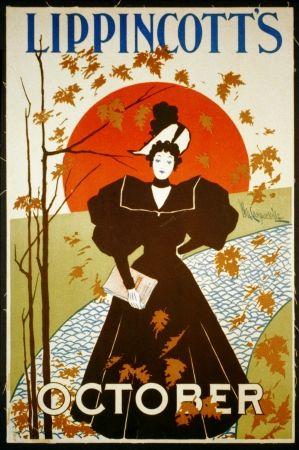 Litografía Carqueville - Lippincott's October