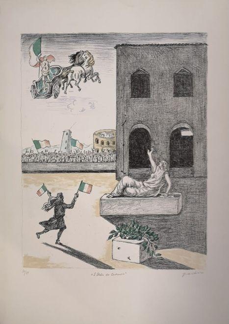Litografía De Chirico - L'Italia del Centenario