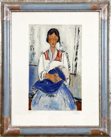 Aguatinta Modigliani - L'Italienne (Gitane avec bébé. 1919). Gravé par Jacques Villon (Bernheim 1927)