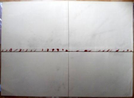 Litografía Tàpies - Litografía Doblada en Rojo y Gris