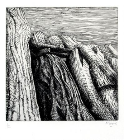 Grabado Moore - Log pile III