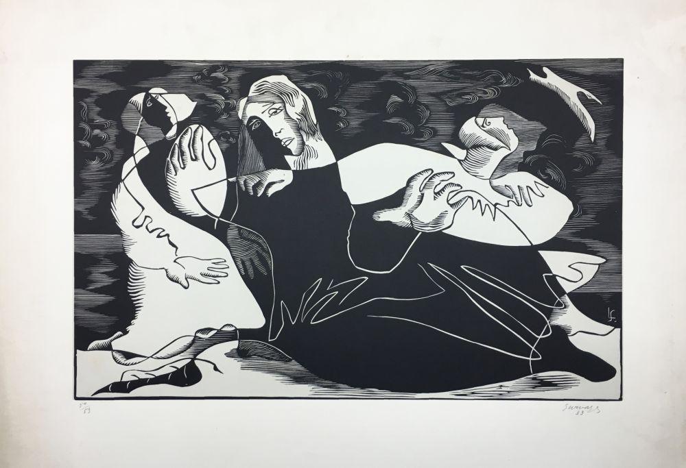 Grabado En Madera Survage - L'Oiseau (ou Femmes de pêcheurs). Paris 1933
