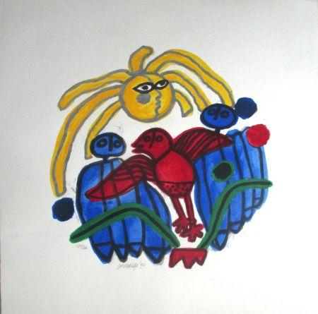 Litografía Corneille - L'oiseau rouge