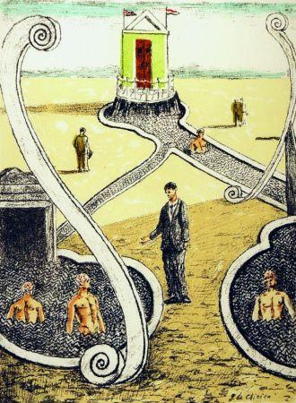 Litografía De Chirico - L'ospite dei bagnanti misteriosi