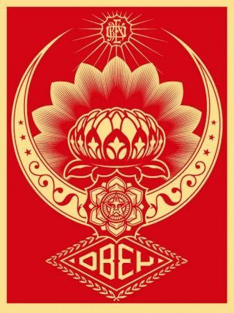 Serigrafía Fairey - Lotus Ornament Red