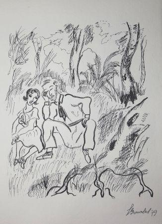 Grabado Bonabel - Louis-Ferdinand Céline - Gravure Originale - Voyage au Bout de la Nuit
