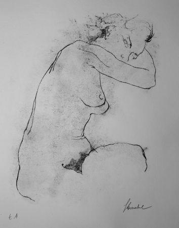 Litografía Bonabel - Louis-Ferdinand Céline - Litographie Originale / Original Lithograph - Autoportrait / Self-Portrait - Nu Feminin / Male Nude - 1945