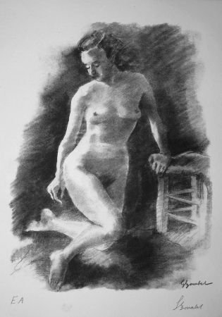 Litografía Bonabel - Louis-Ferdinand Céline - Litographie Originale / Original Lithograph - Autoportrait/Self-portrait - 1945