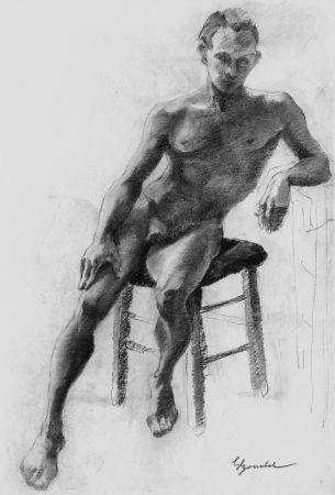 Litografía Bonabel - Louis-Ferdinand Céline - Litographie Originale / Original Lithograph - Nu Masculin / Male Nude 1938