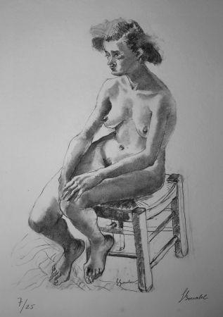 Litografía Bonabel - Louis-Ferdinand Céline - Nu Feminin - Female Nude - 1938
