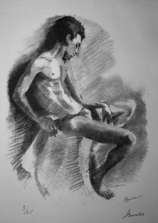 Litografía Bonabel - Louis-Ferdinand Céline - NU MASCULIN / MALE NUDE - 1938