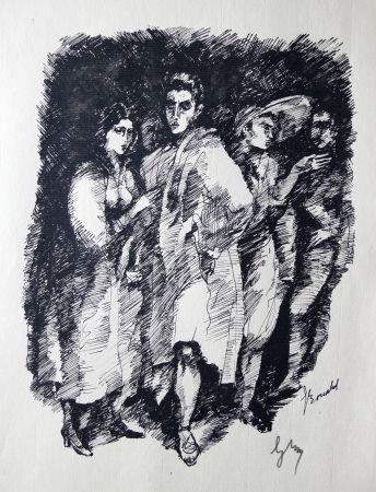 Grabado Bonabel -  Louis-Ferdinand Céline / Lucette Almansor - Gravure Originale - Répétion ballet en costume