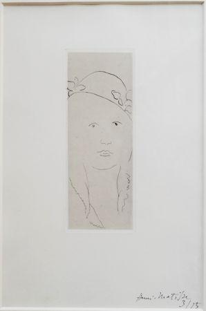 Grabado Matisse - Loulou au chapeau fleuri