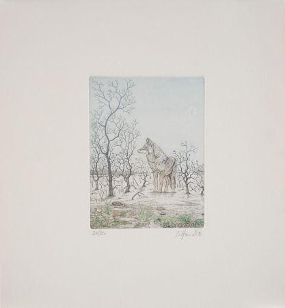 Aguafuerte Hauck - Loup - Wolf
