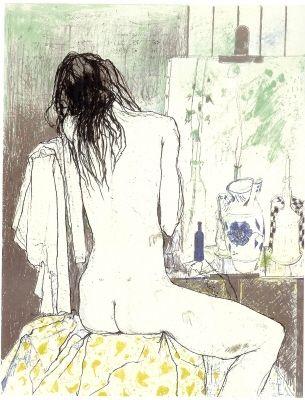 Litografía Jansem - Lydia de dos dans l'atelier