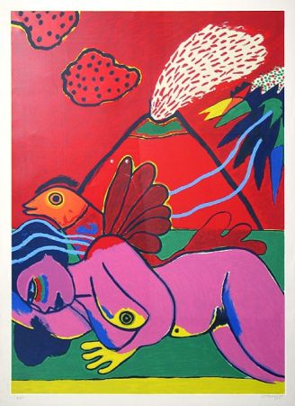 Litografía Corneille - Lying Nude (Liegender Akt)