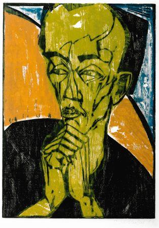 Grabado En Madera Heckel - Männerbildnis / Self-Portrait