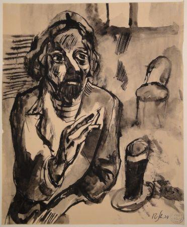 Sin Técnico Schürch - Männliches Porträt (Selbstporträt) mit Glas und Stuhl
