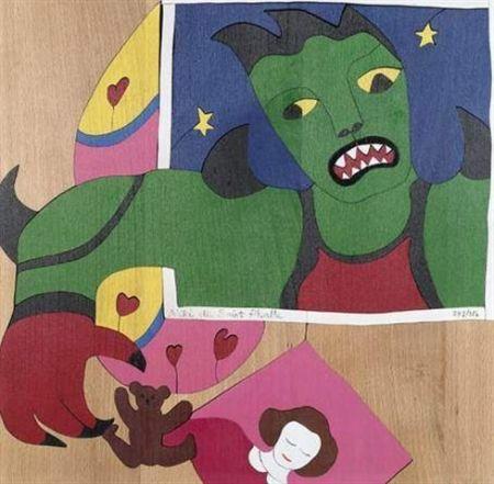 Serigrafía De Saint Phalle -  Méchant-Méchant , puzzle en bois