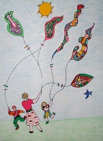 Litografía De Saint Phalle - Méchant - Méchant - Le cerf-volant