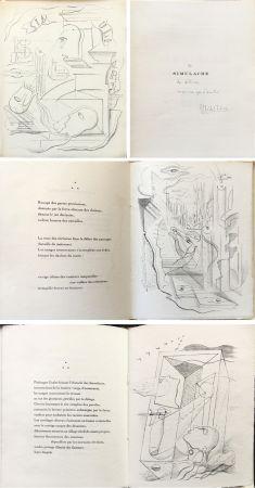 Libro Ilustrado Masson - M. Leiris & A. Masson : SIMULACRE. 7 lithographies originale. Dédicacé (1925)