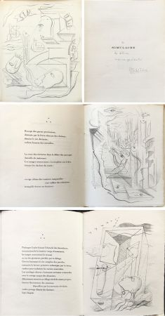 Libro Ilustrado Masson - M. Leiris & A. Masson : SIMULACRE. 7 lithographies originales. Dédicacé (1925)