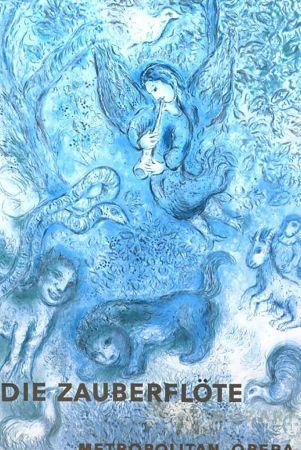 Litografía Chagall - Magical Flute In Blue< Very Rare