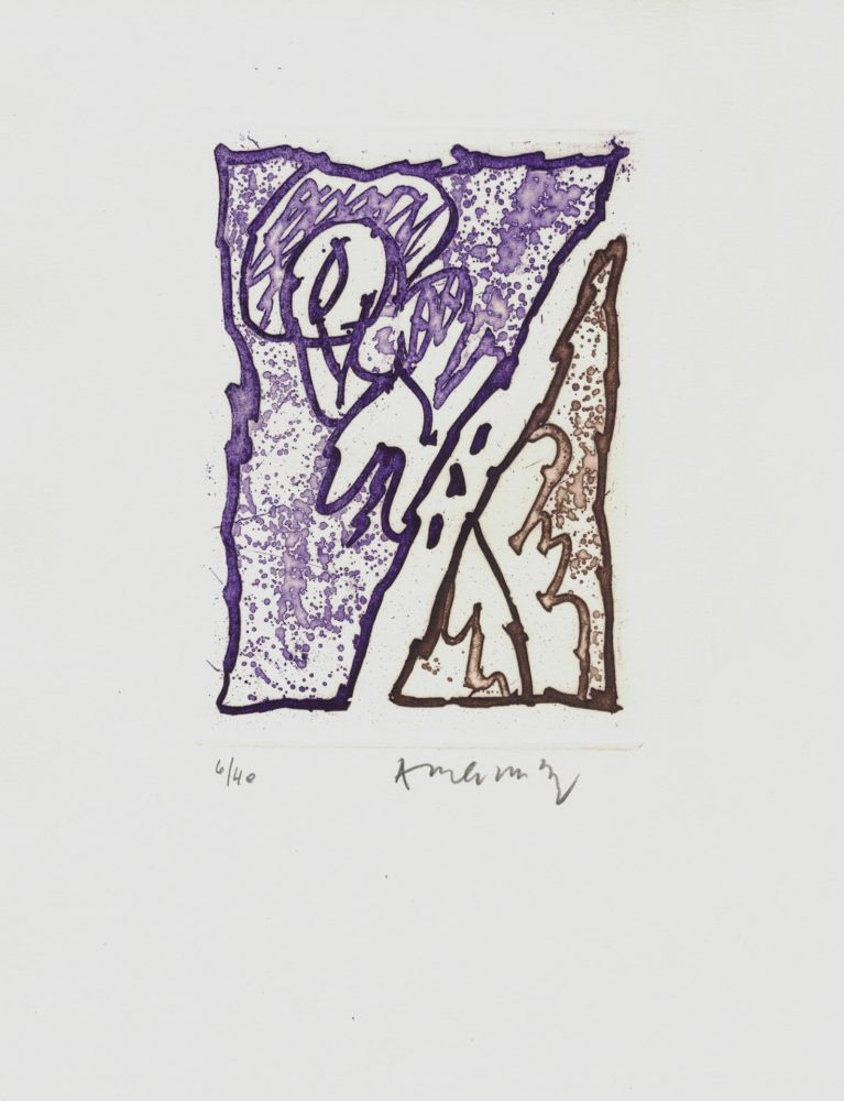 Aguafuerte Alechinsky - '' Maint Corps de Chambres ''