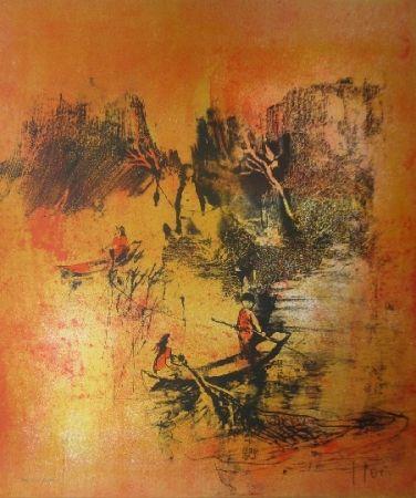 Litografía Lebadang - Maison sur eau