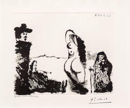 Aguatinta Picasso - Maja et Celestine