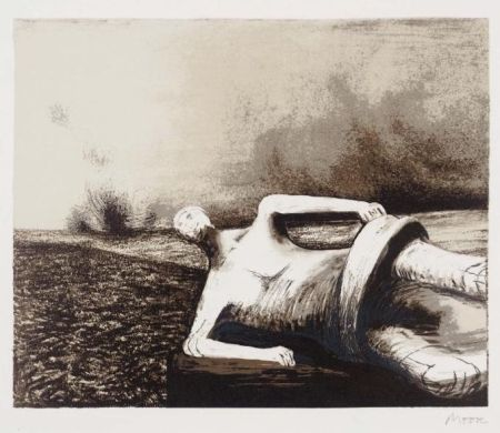 Litografía Moore - Male figure in landscape C.470