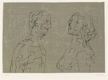 Litografía Moore - Man and woman