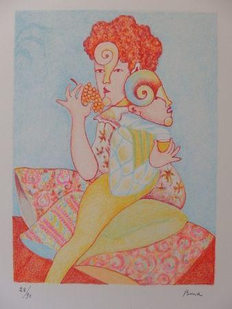 Litografía Bona - Mangeuse de raisin, buveur de vin