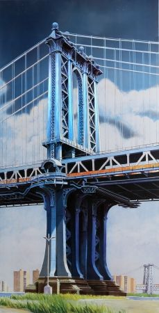 Litografía Haas - Manhattan Bridge