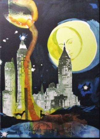 Litografía Dali - Manhattan Skyline, Tarot The Moon