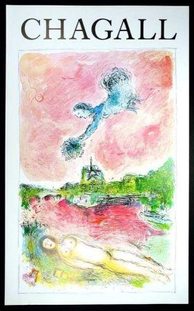 Cartel Chagall - Marc Chagall - Vue Sur Notre Dame. Cartel Exposicion 79 X 48 Cm