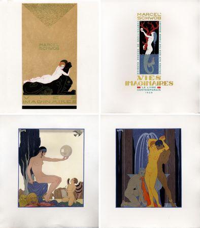 Libro Ilustrado Barbier - Marcel Schwob : VIES IMAGINAIRES. Compositions par George Barbier. Le Livre Contemporain (1929). Dans une reliure Art-Déco.