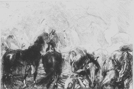 Aguafuerte Besnard - Marché aux chevaux a Mainson Carré - Algérie