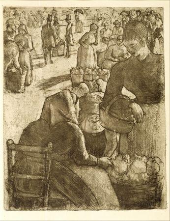 Grabado Pissarro - Marché aux légumes, à Pontoise