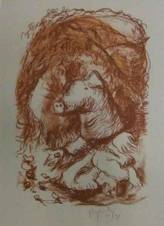 Litografía Garouste - Marché de la truffe